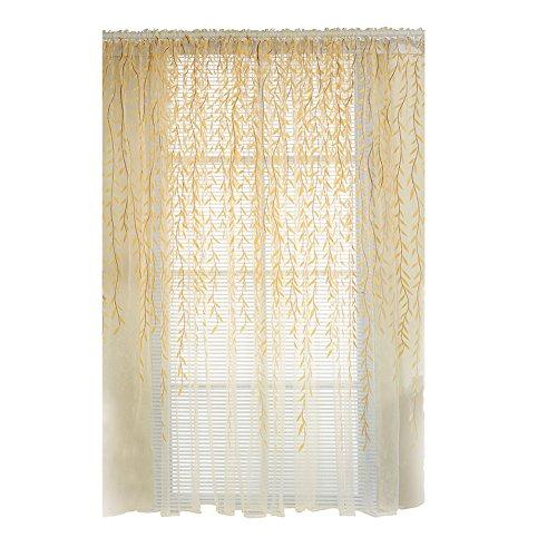 Demiawaking stile pastorale willow floreale tenda della finestra decorazioni interni finestre camera da letto 1*2m (giallo)