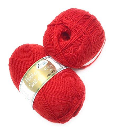Rellana Flotte Socke uni,100 Gr. 4-fädige Sockenwolle, 75% Schurwolle(Superwash)/25% Polyamid, (903 rot) -