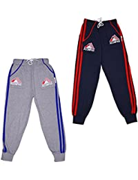ALOFT Boys Multicolor Plain Cotton Track Pants (Pack of-2pcs)