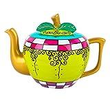 Artvigor Porzellan Teekanne, 1000 ml Handbemalt Kanne, Apfel Design