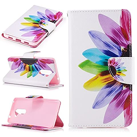 Ecoway Painting pattern PU Leather Stand Function Protective Cases Covers with Card Slot Holder Wallet Book Design Case for Huawei Honor 6X - Seven-color