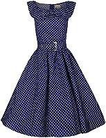 Lindy Bop 'Hetty' Polka Dot Bow Shawl Collar Vintage 1950's Rockabilly Swing Party Dress
