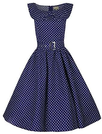 Lindy Bop 'Hetty' Polka Dot Bow Shawl Collar Vintage 1950's Rockabilly Swing Party Dress (24, Navy Blue)