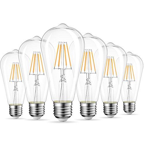 LVWIT Bombillas de Filamento ST64 LED E27 (Casquillo Gordo) - 4W equivalente a 40W, 470 lúmenes, Color blanco cálido 2700K, Bombilla retro vintage. No regulable - Pack de 6 Unidades