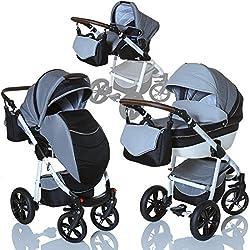 LCP Kids Poussette combinee 3en1 LUCATO eco cuir pour bebe et enfant 0-36 moins pliable avec module canne et siege auto groupe 0+ du 0 a 13 kg - gris TITAN