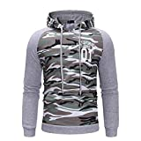 Yvelands Herren Sweatshirt Herbst Gewinner Langarm Splicing Hoodie Kapuzenpulli Top T Bluse(EU-48/L,Grau)
