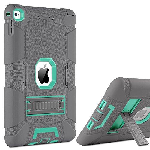 BENTOBEN iPad Air 2Hülle, Ständer 3in 1[Weiche und Harte] Hybrid stoßfest Robust Rutschfeste Kratzfest Full Body Schutzhülle für iPad Air 2Retina (iPad 6) M753-Gray/Mint Green