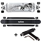 FunTomia Longboard Skateboard Drop Through Cruiser Komplettboard mit Mach1® ABEC-11 High Speed Kugellager T-Tool (Modell Drop Down - Farbe Geier + T-Tool)