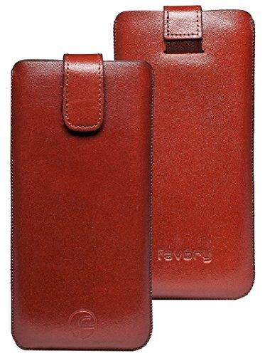 Original Favory Etui Tasche für / Primo 365 by Doro / Leder Etui Handytasche Ledertasche Schutzhülle Case Hülle Lasche mit Rückzugfunktion* In Braun