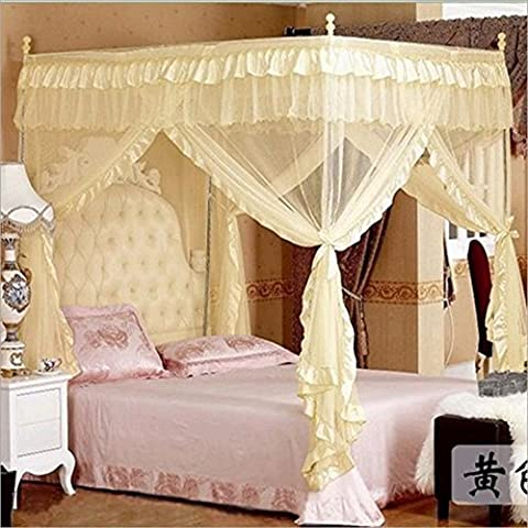 Jeteven Moskitonetz Insektennetz beige Baldachin Dreitür Betthimmel Palace-Stil mit Edelstahlrohr für Einzel oder Doppelbetten 150X200cm
