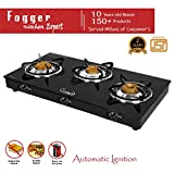 Fogger Smart Glass Top 3 Burner ISI Approved Gas Stove (Automatic Ignition)