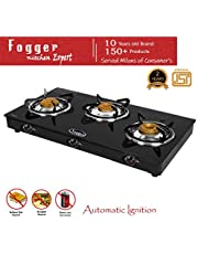 Fogger Smart Glass Top 3 Brass Burner Gas Stove (Automatic Ignition)