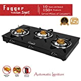 Fogger Smart Glass Top 3 Burner ISI Approved Gas Stove (Automatic Ignition, CI-Top Burner)