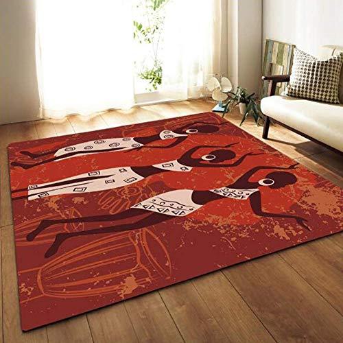 SXCarpet Teppich Afrikanische Frau Rot Schlafzimmer Nacht Badezimmer Computer Stuhl rutschfeste Matten Romantische Wohnkultur -