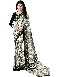 Kanchnar Crepe Saree (174S537_Black And White)
