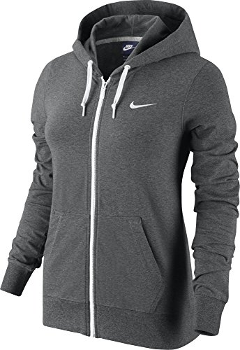 Nike Damen Kapuzenjacke Jersey FZ, carbone mélange/bianco, XL, 614829 (Sweatshirt Jersey Xl Kapuzen)