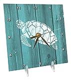 3drose Schildkröte Schablone in weiß über Blaugrün weatherboard- nicht Echtholz–Schreibtisch Uhr, 6von 6(DC _ 220428_ 1)