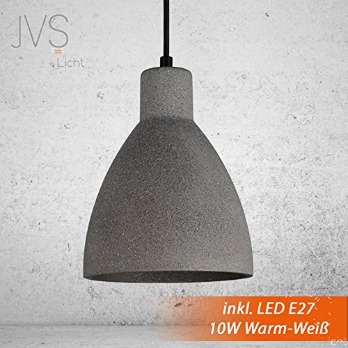Beton-Lampe-Dunkel: Industrielle Betonleuchte / Gipsleuchte mit Textilkabel
