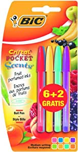 Bic Cristal Pocket Scents Lot de 8 stylos parfumés