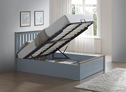 Happy Beds Phoenix Ottoman Storage Bed Stone Grey Finish Modern Wooden Orthopaedic Mattress 4'6'' Double 135 x 190 cm