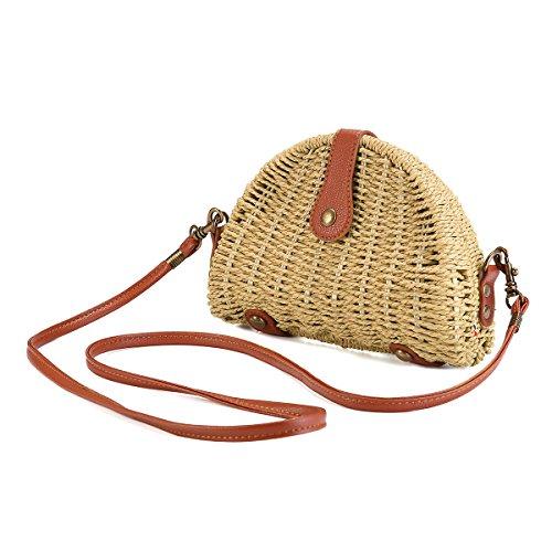 Beige Handtaschen Stroh (Stroh Umhängetasche, JOSEKO Stroh Crossbody Tasche Runde Sommer Strand Geldbörse und Handtaschen für Frauen Beige)