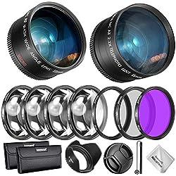 Neewer 55mm Objectif, Filtre et Accessoire Kit pour Nikon AF-S DX 18-55mm Canon Objectif Sélectionné: 0.43X Objectif Grand Angle, 2.2X Téléobjectif, Filtre UV/CPL/FLD/ et Macro, Pare-Soleil, etc.