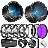 Neewer 55mm Objektiv und Filter Zubehörset: 0,43X Weitwinkelobjektiv, 2,2 X Telefoto Objektive, UV / CPL / FLD / Filter und Makrofilter Set, Gegenlichtblende, Kappe, Tasche, use.