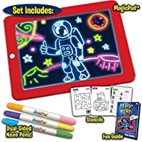 Wazdorf Magic Sketch Drawing Pad | Light Up LED Glow Board | Draw, Sketch, Create, Doodle, Art, Write, Learning Tablet | Includes 3 Dual Side Markets, 30 Stencils and 8 Colorful Effects for Kids