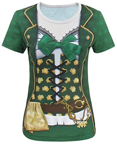 Funny World ST. Patrick's Day Damen Leprechaun Kostüme Klee T-Shirts (XXL, Grün) (St Day Grün Shirt Patricks)