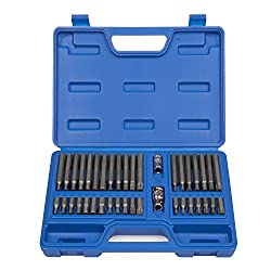 Neiko® 10280b Combination Hex, Torx, & Xzn Triple Square Driver Socket Bit Set | 40-piece Set
