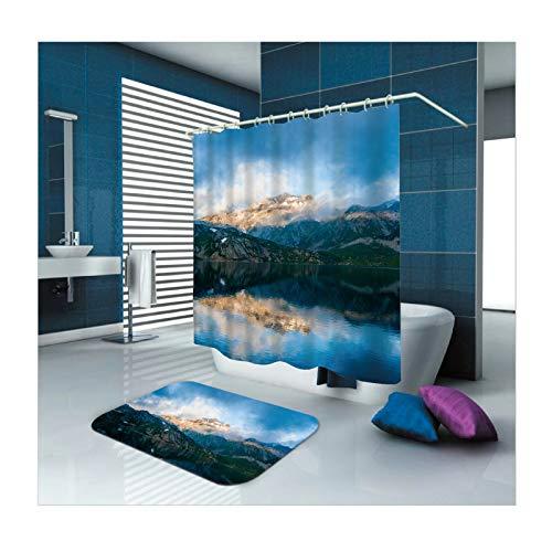Aienid Duschvorhang Blau Anti-Schimmel Berge See Bunt Badevorhang Bodenmatte Size:180X180CM