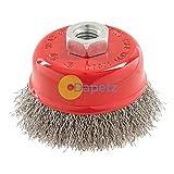 daptez® Edelstahl zudrücken Cup 75mm Drahtbürste, M14Rost entfernen
