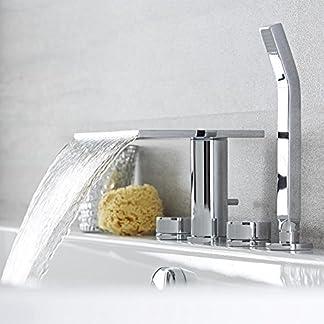 Hudson Reed Rebajas Batería Bañera Baño 4 Agujeros Acero Inoxidable y Latón Sobre Encimera a Cascada con Telefonillo Ducha de Mano Minimalista