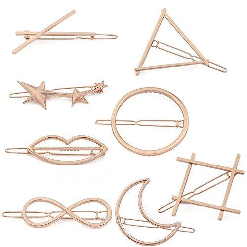 zhichengbosi 8PCS verschiedenen Style Hohl Metall Haarspange Haar Clip Klemmen Zubehör (Rose Gold) Hohl Clip