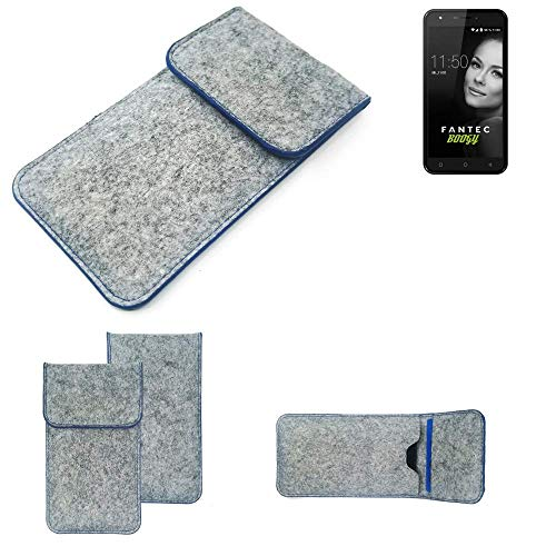 K-S-Trade® Filz Schutz Hülle Für -FANTEC Boogy- Schutzhülle Filztasche Pouch Tasche Case Sleeve Handyhülle Filzhülle Hellgrau, Blauer Rand