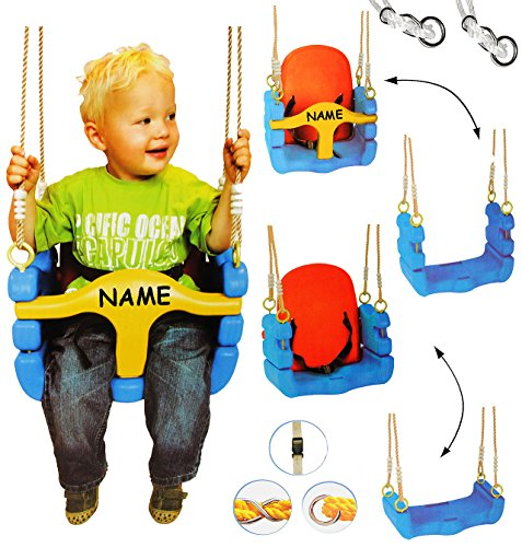 alles-meine.de GmbH mitwachsende - Babyschaukel / Gitterschaukel mit Gurt - incl. Name - Kinderschaukel ab 1,5 Jahre - mit Rückenlehne & Seitenschutz - Schaukel für Kinder - Inne..