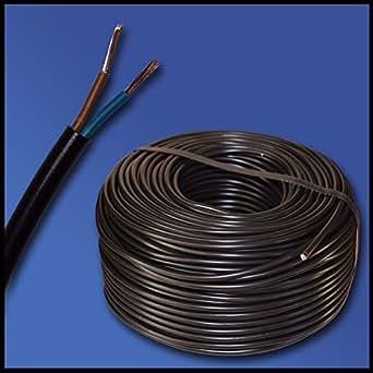 Ebrom Câble gainé H03VV-F 2G 0,75mm² - 2x 0,75mm²-Noir - Bobine de 50m