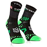 Compressport SHT2BR - Calcetines unisex, color negro/verde, talla 35-38