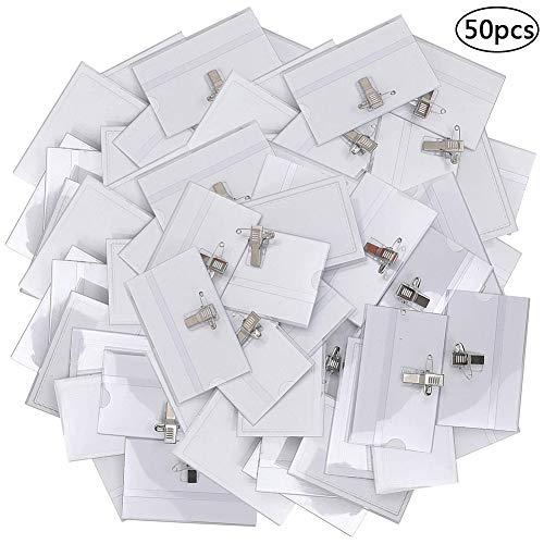 BESTZY 50pcs Namensschilder Ausweishüllen Badge Clip Ausweishalter Abzeichen ID-Kartenhalter Horizontal mit Klammer clip Ausweishülle mit Clip Für Schulen Konferenzen Office Wasserdicht