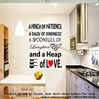 A Pinch of Patience, A Dash of Kindness Kitchen Vinyl Wall Decals Home Decor Stickers Kitchen Wall Art