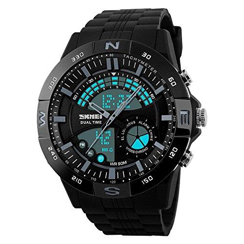 Herren Jungen Uhren Digital Sportuhr Elektronische Militär Taucheruhr Wasserdichte Elektronik LED leuchtet Gummiband Einfache Mode Design Business Casual Uhren