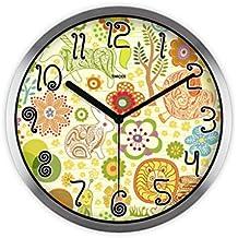 """YONGJUN Orologio Da Parete Cartoon Zoo-Orologio Silenzioso Orologio Da 12"""" Round Clock A Batteria - Facile Da Leggere Home/Ufficio/Scuola (Colore : Silver bezel)"""