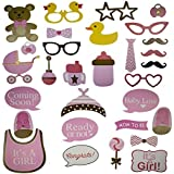 LaZimnInc Baby Shower Photo Booth Props, 30Pcs Pink Baby Bottle Masks Photo Props Newborn Girl Gift Party Supplies