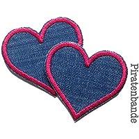 Set 2 Jeansflicken Herz Patch Flicken zum aufbügeln für Mädchen