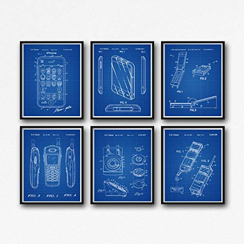 WallBuddy Phone WB078 Handy-Poster für Apple iPhone Samsung Rotary Phone Nokia Handy Motorola Razor V3 tragbares Telefon, Blueprint Grid, 50 x 70 cm V3 Razor