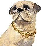 PROSTEEL Hundehalsband Starke Edelstahl Kette 15MM Gold Farbe KragenPanzerkette Trainings Kragen Halskette für Hund Haustier Hals Seil, Länge 61cm