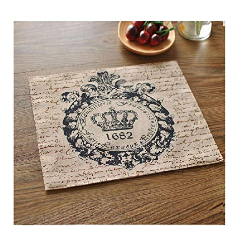 Tovaglie easy care simple style tovagliolo di lino grezzo modello vintage crown tovagliolo in tessuto a doppia faccia acquisto di alimentari decorazione da tavolo (color : a, size : 9.8in*11.8in)