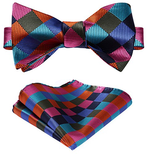 Hisdern Check Self Bow Tie Taschentuch Hochzeit Party Herren Fliege Party Bow Tie