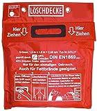 Löschdecke 1,6 x 1,8 m geprüft MPA Dresden DIN EN1869:2001 PrüfNr:2008-F-3416 Tasche Glasfasergewebe Grifftaschen