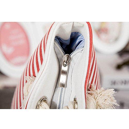 Segeltuchstreifen-Schulterbeutel Gross Handtaschen-Strandtasche beiläufiges Tasche mit großer Kapazität Rot